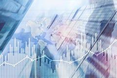 De grafiekgrafiek die van de bedrijfsfinanci?ngroei diagram handel en forex de dubbele blootstelling gemengde media van het uitwi vector illustratie