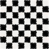 De grafiekpatroon van het zwart-witte gekrabbelvierkant. Vector Illustratie