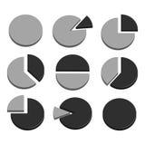 De grafiekpictogram van het bedrijfsdieGrafiekdiagram voor ontwerppresentatie binnen wordt geplaatst, 3D cirkeldiagram in monotoo Stock Afbeeldingen