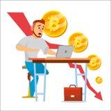 De Grafiekvector van de Bitcoinneerstorting Bitcoincrypto het Concept van de Muntmarkt Verraste Investeerder Negatieve de Groeiui stock illustratie