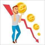 De Grafiekvector van de Bitcoinneerstorting De Dalingen van de Bitcoinprijs De Waarde die van de prijsmarkt dalen Crypto het Conc stock illustratie