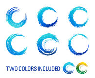 De grafische Borstel wervelt Blauw en Groen Stock Foto's