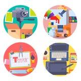 De grafische die pictogrammen van het ontwerpconcept met fotografiesymbolen geïsoleerde vector worden geplaatst Stock Fotografie
