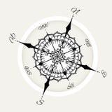 De grafische die wind nam kompas met bloemenelementen wordt getrokken toe Royalty-vrije Stock Afbeelding
