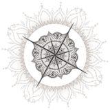 De grafische die wind nam kompas met bloemenelementen wordt getrokken toe Royalty-vrije Stock Foto