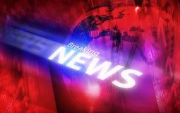 De grafische moderne digitale achtergrond van het wereld brekende nieuws Stock Foto