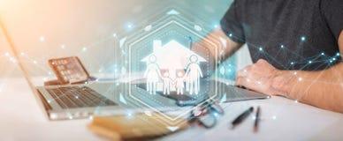 De grafische ontwerper die 3D de verzekeringstoepassing gebruiken van de familiezorg trekt uit Stock Fotografie