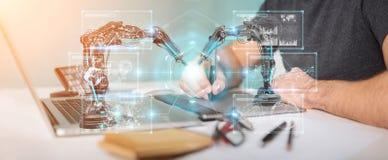 De grafische ontwerper die roboticawapens met het digitale 3D scherm met behulp van trekt uit Royalty-vrije Stock Foto's