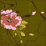 De grafische roze bloem van Japan op groene achtergrond stock illustratie