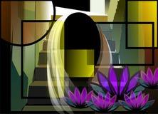 De grafische schilderijen van verschillende vormen en stroom vector illustratie