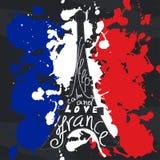 De grafische typografische kaart van Frankrijk Ontwerp vectorkunst met creatieve slogan Retro groetkaart in schetsstijl Backgro v Royalty-vrije Stock Foto's