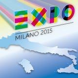 De grafische uitwerking van Logo Expo 2015 Stock Foto