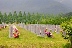 De grafstenen bij de Nationale Begraafplaats van Daejeon, Zuid-Korea, 25 kunnen 2016 Stock Afbeeldingen
