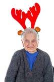 ` De grand-maman avec une glissière de renne Image libre de droits