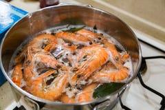 De grandes crevettes de tigre sont faites cuire dans une casserole Photos stock