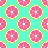 De grapefruit snijdt naadloos patroon Vlakke voedseltextuur stock fotografie