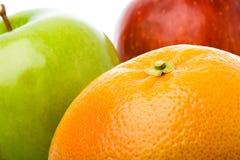 De grapefruit van de close-up en twee appelen Royalty-vrije Stock Foto