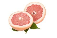 De Grapefruit van de plak met bladeren op een witte achtergrond Stock Foto's