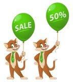 De grappige ballon van de kattenholding met verkoopteken Royalty-vrije Stock Afbeelding