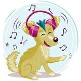 De grappige beeldverhaalhond met hoofdtelefoons luistert aan muziekillustratie Stock Afbeelding