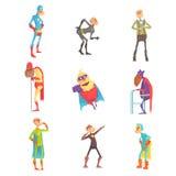 De grappige bejaarde karakters van het supermanbeeldverhaal in actiereeks vectorillustraties Royalty-vrije Stock Afbeeldingen