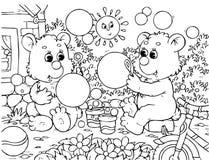 De grappige beren blazen bellen Royalty-vrije Stock Foto