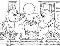 De grappige beren stuiteren een bal Royalty-vrije Stock Foto's