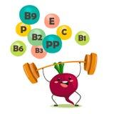 De grappige bieten fokt de bar Vector isoleer in beeldverhaalstijl met elementen van vitaminen vector illustratie