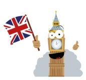 De grappige Big Ben die een Vlag houdt Royalty-vrije Stock Fotografie