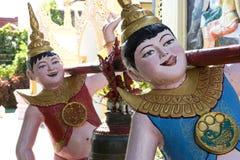 De grappige Boeddhistische Standbeelden van de Tempel Royalty-vrije Stock Fotografie