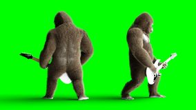 De grappige bruine gorilla speelt de elektrische gitaar Super realistisch bont en haar groene het scherm4k animatie stock footage