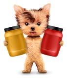 De grappige containers van de hondholding met sportvoeding Stock Foto's