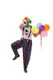 De grappige die clown met ballons op witte achtergrond wordt geïsoleerd Royalty-vrije Stock Foto