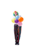 De grappige die clown met ballons op witte achtergrond wordt geïsoleerd Royalty-vrije Stock Afbeelding