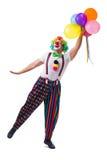 De grappige die clown met ballons op witte achtergrond wordt geïsoleerd Stock Afbeelding