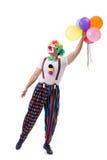 De grappige die clown met ballons op witte achtergrond wordt geïsoleerd Stock Foto's