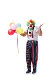 De grappige die clown met ballons op witte achtergrond wordt geïsoleerd Stock Foto