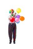 De grappige die clown met ballons op witte achtergrond wordt geïsoleerd Stock Afbeeldingen