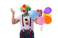 De grappige die clown met ballons op witte achtergrond wordt geïsoleerd Royalty-vrije Stock Afbeeldingen