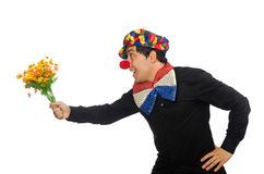 De grappige die clown met bloemen op wit wordt geïsoleerd Royalty-vrije Stock Afbeeldingen