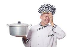 De grappige die kok op wit wordt geïsoleerd Stock Fotografie