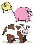 De grappige dierlijke karakters van het stijllandbouwbedrijf royalty-vrije illustratie