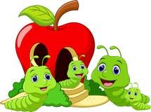 De grappige familie van de beeldverhaalworm Stock Foto