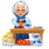 De grappige geanimeerde oude die dame heeft op Kerstmisdecoratie en giften op witte achtergrond worden geïsoleerd betrekking Sche stock illustratie