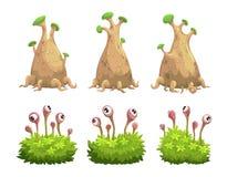De grappige geplaatste bomen en de struiken van de beeldverhaalfantasie royalty-vrije illustratie