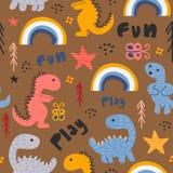 De grappige getrokken kleurrijke achtergrond van het Dinosaurus naadloze patroon hand vector illustratie