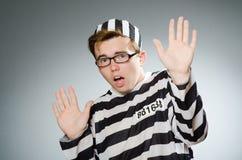 De grappige gevangene in gevangenisconcept Royalty-vrije Stock Foto