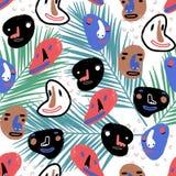 De grappige Gezichten van het Beeldverhaal De illustratie van de klemkunst met eenvoudige gradiënten Elk gezicht op een afzonderl Stock Afbeeldingen