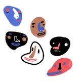 De grappige Gezichten van het Beeldverhaal De illustratie van de klemkunst met eenvoudige gradiënten Elk gezicht op een afzonderl Royalty-vrije Stock Afbeeldingen