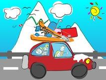 De grappige hand getrokken familie gaat op vakantie door autoverstand Royalty-vrije Stock Afbeelding